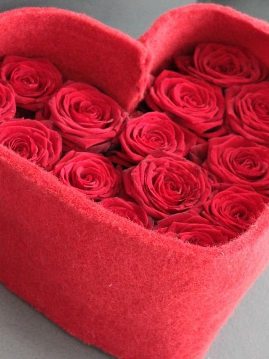 Déclaration- Cœur de 14 roses rouge